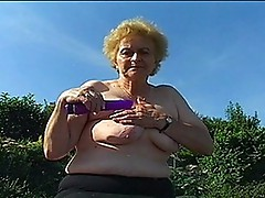 Very old Lady in nylons receives big dick
