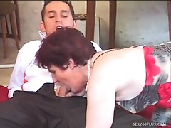 Older dame gangbanged in the ass by waiter