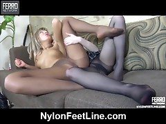 Nora and Paulina nylon footfuck clip