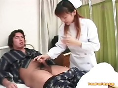 Oriental nurse jerking off