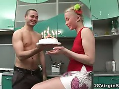Sweet virgin gets fucked on her 18th birthday