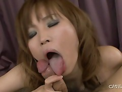 Slutty asian whore sucks and tit job this lucky dick