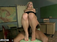 Hot teacher with sexy feet for huge black cock