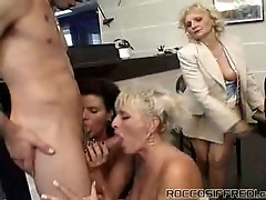 Amazing interracial group orgy on filthy table