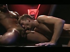 Horny gay hunk squatting in stall searching for wandering man meat