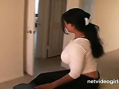 Busty asian nina strips, sucks and licks her own tits