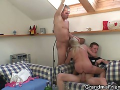 Young girl's horny guy friends get grandma drunk so they can fuck her
