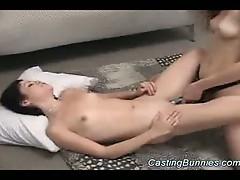 Painful brunette milf lesbian casting strapon fuck