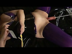 Horny babe get machine fucked by her master !