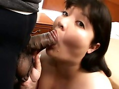 Horny plumper sucking slowly and eagerly on a big hard cock