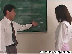 Horny teacher spreads her legs and hot ass open for a good spanking