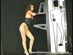 Horny brunette hanka in magician cage