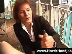 Angry mature gives harsh handjob