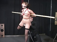 Blonde babe lexi belle gets hooked to bondage stick
