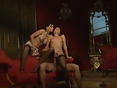 A hot anal threeway scene with renata black and claudia rossi