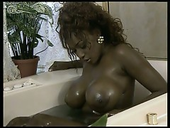 Massive tits ebony for huge white cock