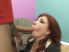 Red haired momma riding massive thick boner for some bucks
