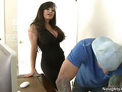 Hot milf babe lisa ann seduces this big cock guy