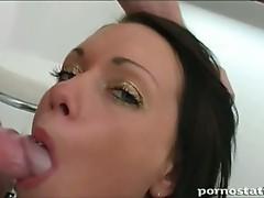 Hot brunette slut drilled hard