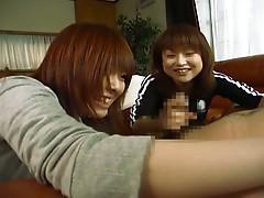 Japanese chicks teasing a cock