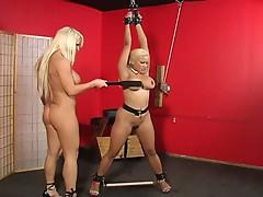 Bdsm blonde tortured by a hot slut !
