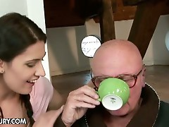 Young babe fuck in the ass by bald dad