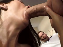 Hubby watches horny wife eat cock & her wet horny pussy screwed