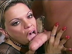 Black stockings babe fucked hard by a muscled dude!
