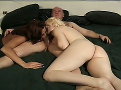 Sizzling hot babes sharing hairy daddy's sweet cock for fun