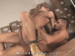 Horny gay bear dudes fucking hard in a warehouse