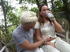 Busty slut gets fucked hard outdoors