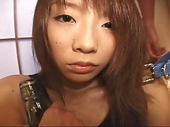 Asian babe tied up and fucked hard