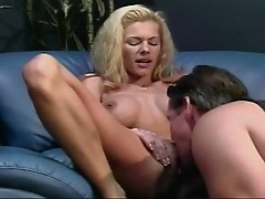 Slice of heaven with big tits muscled blonde whore