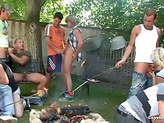 Ass-pounding, dick-licking backyard gay gang bang sex party