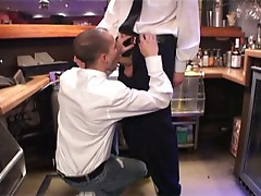 Two horny gay dudes fuck in the bar