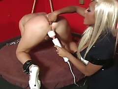 A female toy slave gets tied and exploited