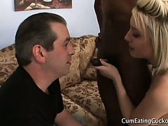 Hubby licks black dick through blonde wife proxy paige