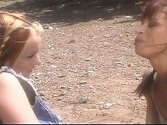 Hot lesbians fuck outside