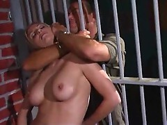 Stud fucks a slut in a jail cell