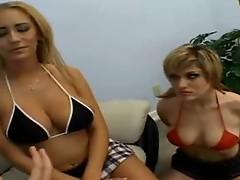 Splendid bikini girls in wild threesome