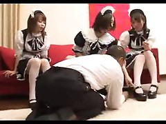 Three Japanese French maids have fun with him