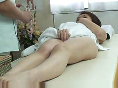 Chubby masseuse fucks young Japanese girl
