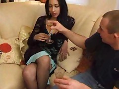 Skinny Arab strips and then he fucks her