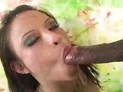 Full length with girls gobbling black cock