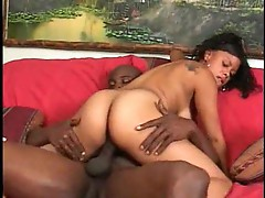 Black girl takes his long ebony pole