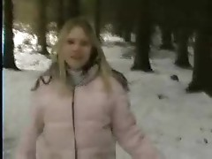Girl gives blowjob in the winter
