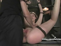 Prison tied bitch fucked in her mouth then fingered and busted in bdsm sex