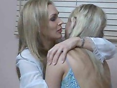 Cute young girl in a prom dress has lesbian sex