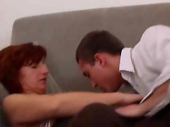 Balls against her milf pussy during anal sex