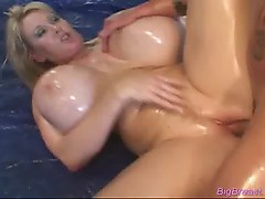 Babe with huge breasts fucked